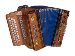 gebrauchte Schmidt Harmonika kaufen, Erle mit Bauernmalerei, Balg Blau, Beschläge Chrom