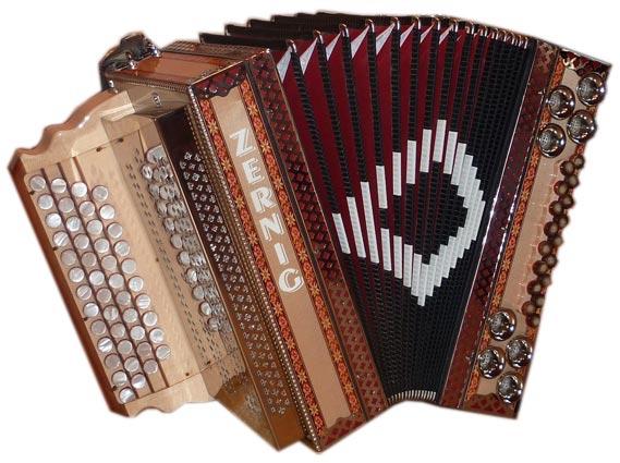 gebrauchte Zernig Harmonika aus Ahorn mit Einlegearbeit